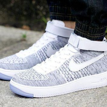 ESBBE6 Nike Air Force 1 Flyknit Mid-High 817420-103 Grey For Women Men Sneakers