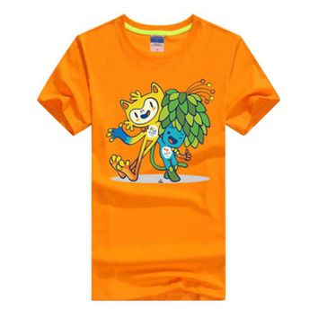 Commemorative Tees Rio 2016 Olympic Games Round Neck T-Shirt Mascot-XXL Orange