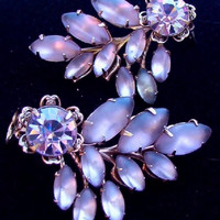 Purple German Sappharine Glass Clip Earrings