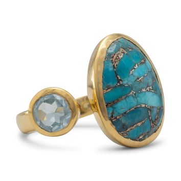 14 Karat Gold Plated Ring with Blue Topaz & Turquoise