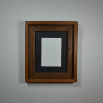 Reclaimed wood photo frame 8x10 with 5x7 black mat
