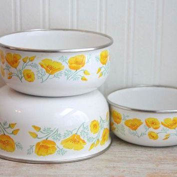 ICIK1IN vintage enamelware poppy flower mixing bowl kobe kitchen  number 1