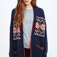 BDG Brushed Pattern Cardigan in Navy - Urban Outfitters