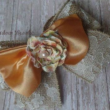 BURLAP HAIRBOW, bow, shabby, rustic, creamsicle orange, floral rose, baby girl, toddler, wedding, headband, flowergirl, photo, monde, bebe