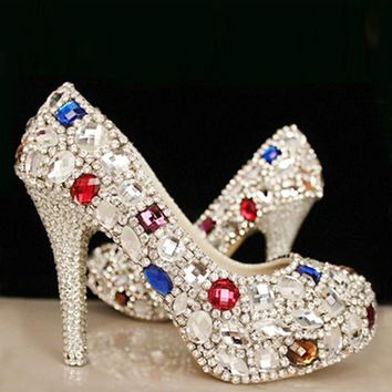New large size crystal high-heeled bride wedding shoes wedding diamond wedding bridesmaid pearl transparent princess shoes