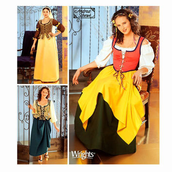 DIRNDL DRESS PATTERN German Bavarian Blouse Apron Skirt Vest Dress-Up Costume Simplicity 5582 Size 4 6 8 10 UNCuT Womens Sewing Patterns