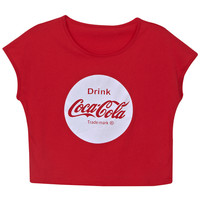 "ROMWE | ""CocaCola"" Print Red T-shirt, The Latest Street Fashion"