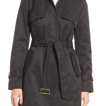 DCCKHB3 Cole Haan | Faux Leather Trim Trench Coat