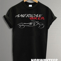 New American Biker Shirt Printed on Black t-Shirt For Men Or Women Size TS 64