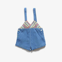 Vintage 30s- 40s Baby Romper / 1940s Striped Blue Cotton Overalls Jumper Onesuit 2T