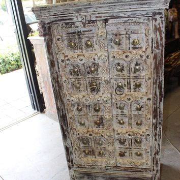 INDIAN Antique Wooden Cabinet Brass Medallion Rustic Storage Armoire Chest