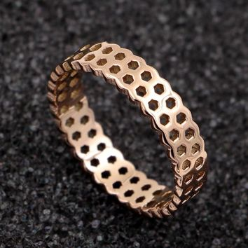 STYLEDOME Woman Rings Hollow Out Honeycomb Shape Rose Gold Rings