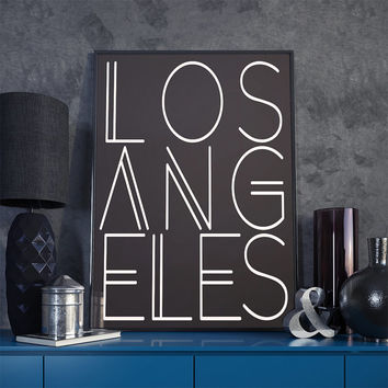 Los Angeles, Los Angeles Print, Los Angeles Wall Art, LA Art, Los Angeles Artwork, City of Angels, Typography Poster