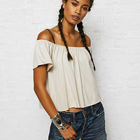 Don't Ask Why Off-the-Shoulder Flutter Top, White