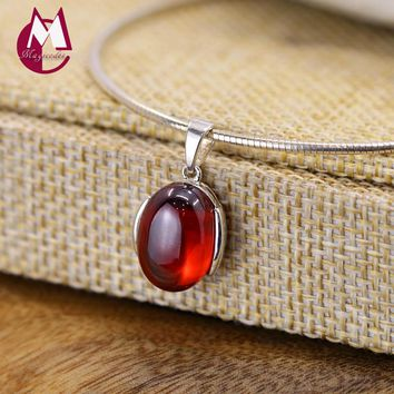 Simple Red Garnet Pendant 100% 925 Sterling Silver Necklace Women Jewelry Natural Stones Pendant Necklace Female SP16