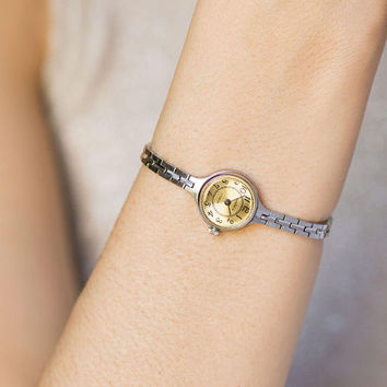 Watch bracelet  for women, petite cocktail watch Seagull, feminine wristwatch beige face, round ornamented watch woman, tiny watch for party