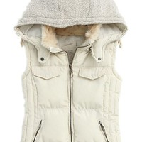 quehuo Easy Winter Fashion Women's Fur Hood Cotton Splicing Thick Warm Coat Jacket Vest