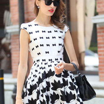 White Bowknot Print Cap Sleeve High Waist Mini Skater Dress