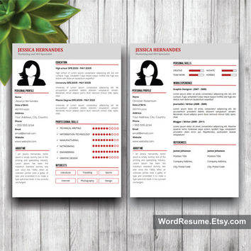 Clean Resume Template, Cover Letter Word, CV Template, Modern Resume Template, Curriculum Vitae, Resume Format Design, Instant CV Download