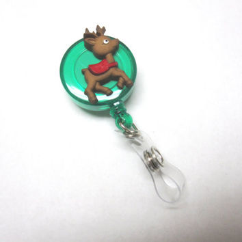 Reindeer Badge Reel Christmas Holiday Retractable ID Name Tag Holder
