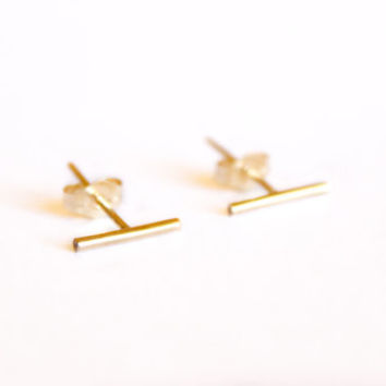 Short Thin Line Earrings - 14k Gold Fill or Sterling Silver - Bar Earrings - Line Posts - Parallel Lines - Simple Gold Earring - Minimalist