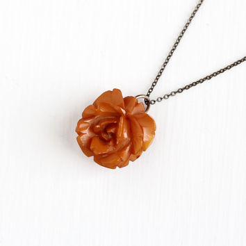 Vintage Carved Bakelite Rose Necklace - 1930s Art Deco Brass Tone Chain Butterscotch Brown Orange Flower Floral Brooch Pin Charm Jewelry