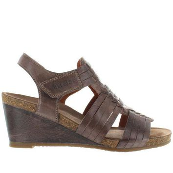 CREYONIG Taos Tradition - Dark Taupe Leather Huarache-Style Wedge Sandal