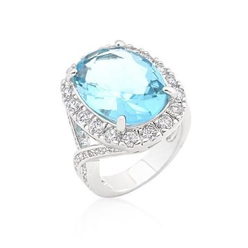 Oval Blue Topaz Cocktail Ring