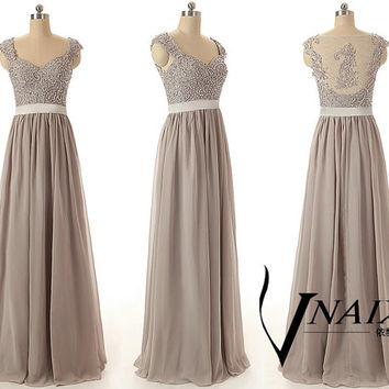 Custom Color Size Elegant Formal Cap Sleeve Zipper Up Long Chiffon Gray Color Lace Bridesmaid Dress Lace Prom Dress Gray Lace Evening dress