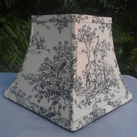 Toile Lamp Shade Chandelier Square Bell Frame Black Off-White Cotton Upholstery Fabric Black Grosgrain Ribbon Handmade Trim Torpedo Clip