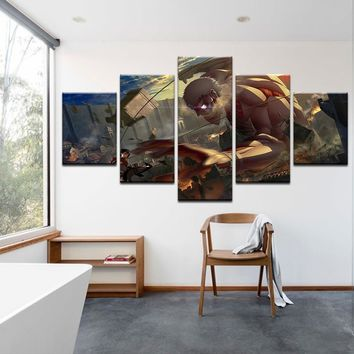 Cool Attack on Titan 5 Pcs Canvas  Painting For Living Room Wall Art Decor giant Picture Modern Artwork Animation Poster AT_90_11