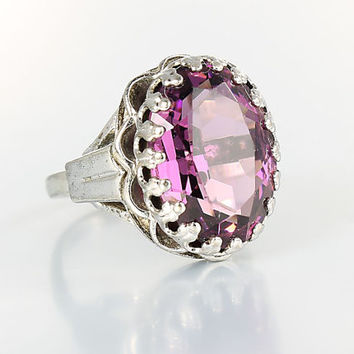 Victorian revival Ring, Amethyst crystal Sterling Silver ring, vintage Adjustable size 5 signed D