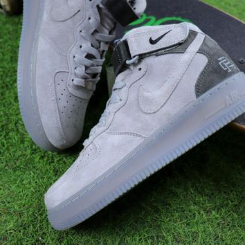 Sale Reigning Champ Nike Air Force 1 Mid Grey Suede Sport Shoes 27279cdd46