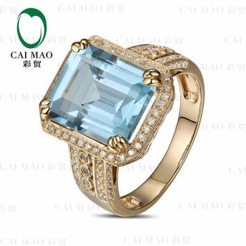 CaiMao 7.1 ct Natural Aquamarine 18KT/750  Yellow Gold  0.66 ct Round Cut Diamond Engagement Ring Jewelry Gemstone