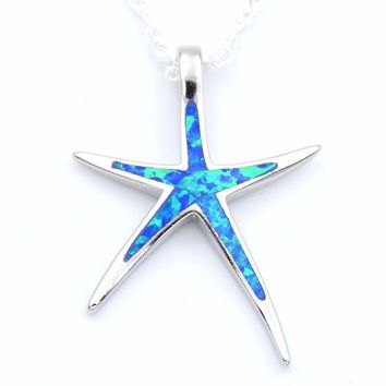 Starfish Opal Pendant Necklace with Free Wave Chain Beach Themed Summer Jewelry