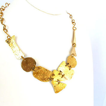 Gold brass bib, hammered tribal necklace, ethnic collar, modern metal jewelry