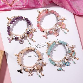 2018 Sweet Vintage Ethnic Double-layer Whale Tail Flowers Starfish Pendant Crystal Beaded Charm Bracelet for Women Girls Jewelry