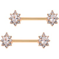 Clear CZ Gem Rose Gold Plated Teardrop Star Barbell Nipple Ring Set
