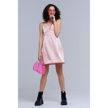 Pink Slip Dress With Crossed Ribbons