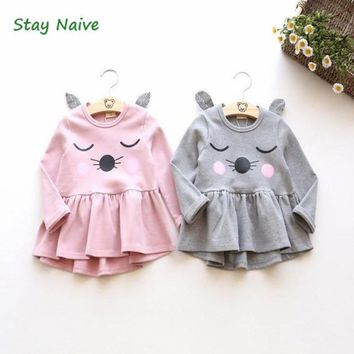 Hot baby girl dress 2017 children dress girl T shirt dress clothing cat ears
