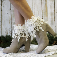 ROSEBUD long lace socks - ivory