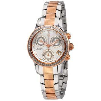 Bulova Masella Silver Dial Ladies Chronograph Watch 65R149