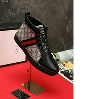 GUCCI Bursting Men Classic Lace-up High Help Shoes Casual Print Leather Autumn New Pattern Flat Bottom Male Plat Shoe Free Shipping