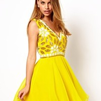 Virgos Lounge Verity Embellished Babydoll Skater Dress at asos.com