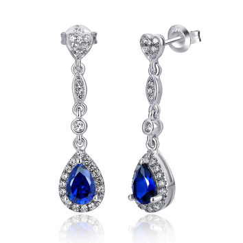 Sterling Silver Heart W. 2.5ct Teardrop Sapphire Drop Earrings