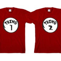 """Thing1 Thing2 """"Cute Couples Matching T-shirts"""""""