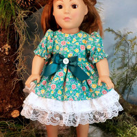 American Girl Doll Dress, Teal Dress With Lace Trim, Fits Springfield, Madame Alexander, 18 Inch Dolls, Doll Play Clothes