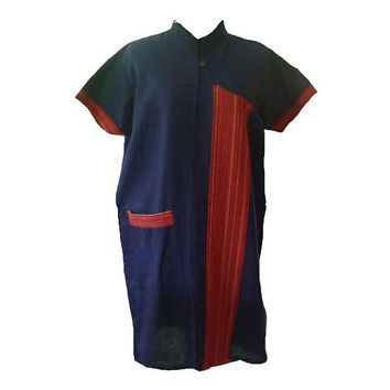 "Mandarin collar dress size L/XL bust 42"" Tunic dress with tie waist/ front pocket shirt Tribal shirt Blouse Navy blue red short sleeve"