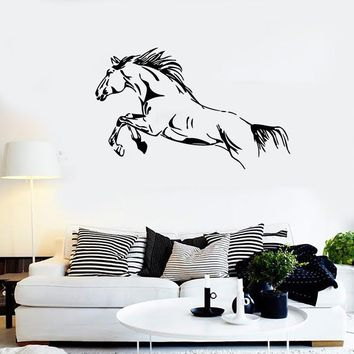 Wall Stickers Vinyl Decal Wild Mustang Jump Horse Racing Big Stallion EM334