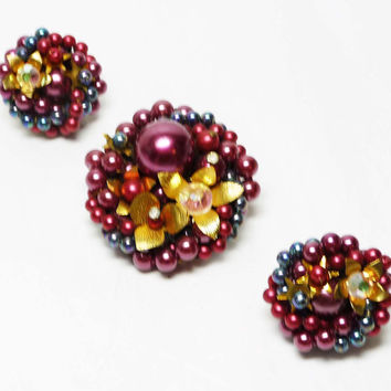 Japan Beaded Brooch & Earrings Set - Vintage Clip on's and Pin Demi Parure - Raspberry Red and Blue Grape Beads with Goldtone Flowers
